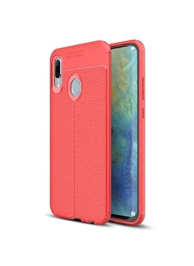 Microsonic Huawei P Smart 2019 Kılıf Deri Dokulu Silikon  Kırmızı